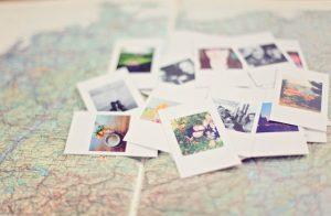 fotografije, karta, putovanja, polaroid